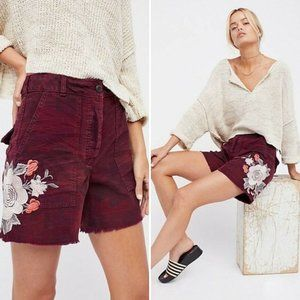 Free People Embroidered Scout Short Maroon 4